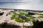 Te Arai beach where an international-class golf course, Tara-iti, has been built on dunes cleared of pines at the northern end of the forest.
