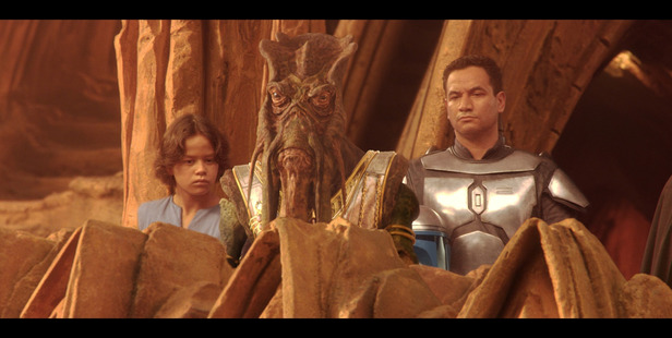 Daniel Logan, left, and Temuera Morrison in Star Wars Episoe II. Photo/Supplied