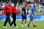 Left to right: Umpires Chris Brown and Kumar Dharmasena, Black Caps captain Kane Williamson and Australian captain Aaron Finch leave the field during the abandoned McLean Park ODI. Photo/Duncan Brown