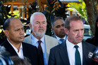 Labour Party leader Andrew Little flanked by (l-r) Willie Jackson, Labour President Nigel Haworth, Labour MP Peeni Henare and Labour candidate Willow-Jean Prime at Waitangi. PHOTO/ John Stone.