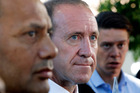 Willie Jackson and Labour leader Andrew Little announce Jackson will stand for Labour at Waitangi. PHOTO/ John Stone