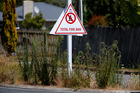 A total fire ban sign posted in Ruakaka. Photo / Michael Cunningham