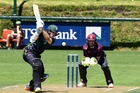 CD Stags opener George Worker teases the ball past ND Knights wicketkeeper Tim Seifert in the rd 7 Ford Trophy match at Pukekura Park, New Plymouth, on Saturday. PHOTO: John Velvin/ESPNZ