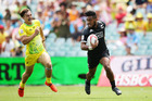 Vilimoni Kordi of New Zealand races away to score a try during the mens pool match between New Zealand and Australia. Photo / Getty Images.