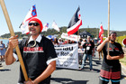 Reti Boynton of Kaitaia leads the anti-P hikoi to Waitangi after a five-day walk from Cape Reinga. PHOTO/JOHN STONE