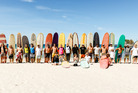 Surfers line up at Mangawhai Heads during the fourth Logger Heads competition. Photo/Photo CPL