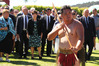 Albert Cash of Kawakawa leads the Governor-General Dame Patsy Reddy into the whare at Te Tii Marae yesterday. Photo by Peter de Graaf