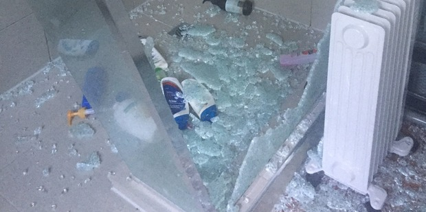 Radio Sport producer Guy Heveldt's shower exploded in the middle of the night. Photo / supplied