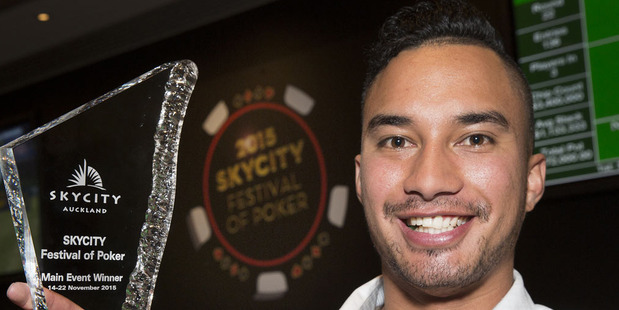 Kiwi poker player Te Rangi Matenga holds the chip lead over the remaining 46 players at the  Waitangi Deepstacks Championship main event at Auckland casino.