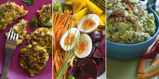 Funky fritters, roasted beetroot with a kombucha vinaigrette and groovy guacamole. Photos / Bite magazine