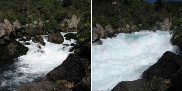 The release from the Aratiatia Dam transforms calmer waters into rapids.