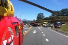 A motorcyclist and his female pillion passenger were taken to Waikato Hospital after the crash. Photo / Waikato Westpac Rescue Helicopter