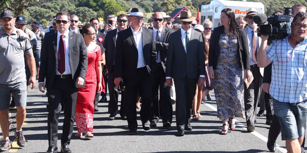 Andrew Little with his Labour Party colleagues walk to the Te Tii Marae. Photo / Jason Oxenham