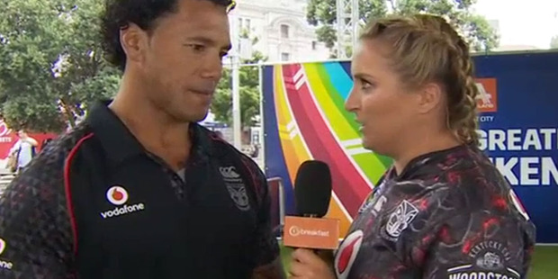 Brodie Kane gets up close and personal with Ruben Wiki during a segment on Breakfast. Photo/TVNZ