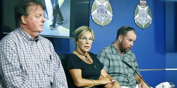 David Dick's mother Carol Cloke with David's uncle John Hird (left) and his brother Simon Dick. Photo / News Corp Australia