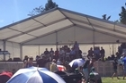 Opposition leader Andrew Little speaks to the crowd at Hoani Waititi Marae, in West Auckland, on Waitangi Day.