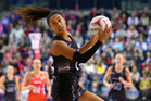 Maria  Tutaia in action during the Netball Quad Series. Photo /Getty