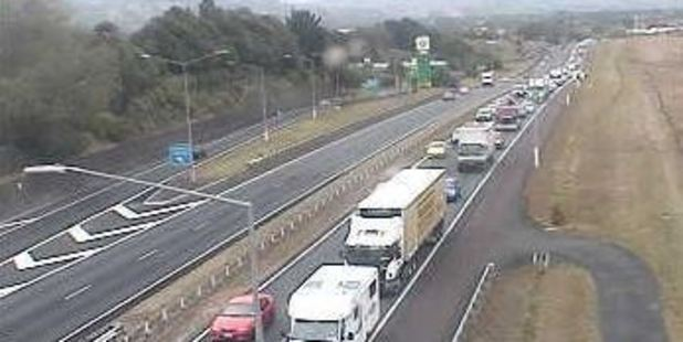 Motorway traffic heading north on the Southern Motorway is crawling. Photo / NZTA