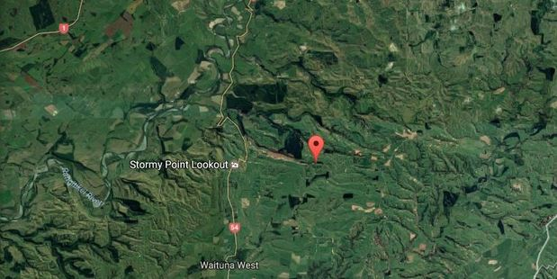 A 25-year-old man has died while taking part in an organised off-road trail ride in Waituna West, near Fielding. Photo / Google Earth
