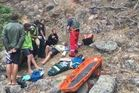 The man suffered moderate injuries when a rope swing snapped. Photo / Auckland Rescue Helicopter Trust