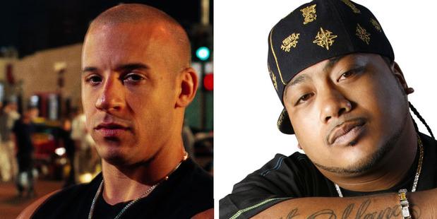 One of Savage's songs will help promote Vin Diesel's, left, new movie.