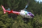 A man was airlifted from Omanawa Falls with moderate injuries after jumping from the top of the waterfall.