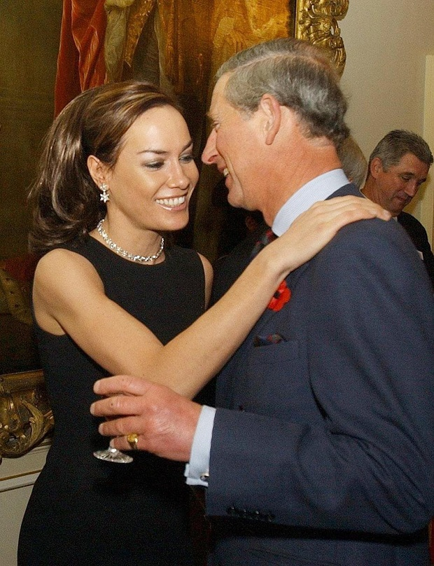 Tara Palmer Tomkinson, greeting her godfather, Britain's Prince Charles during a reception at Clarence House, London, 2003. Photo / AP