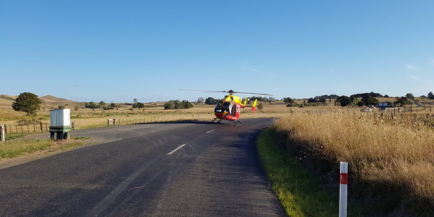 Two people were injured, one seriously, in a motorcycle crash in Waikato this afternoon. Photo / Philips Search and Rescue Trust