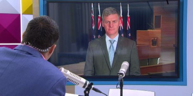The AM Show host Duncan Garner talking to Prime Minister Bill English about the Huntly Muslim attack. Photo / Newshub