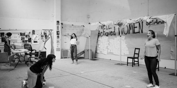 Virginia Frankovich directs Amanda Tito (left), Michelle Ny and Sophie Henderson in Revolt. She Said. Revolt Again.