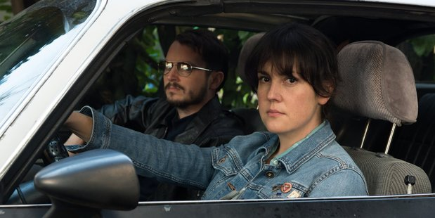 Elijah Wood and Melanie Lynskey in their new Netflix movie, I Don't Feel At Home In This World Anymore. Photo/Netflix