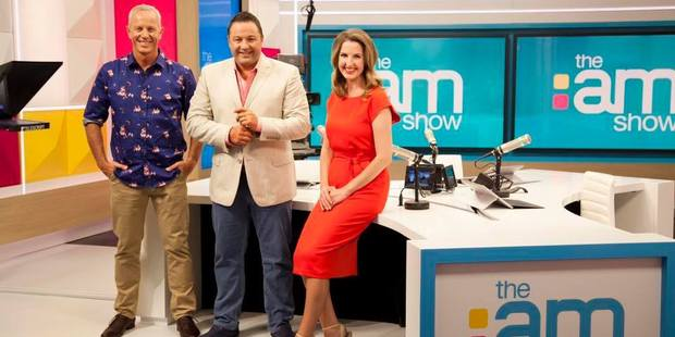 Three's The AM Show hosts, Mark Richardson, Duncan Garner and Amanda Gillies. Photo / The Am Show Facebook