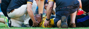 Vaea Fifita of the Hurricanes sustains an injury in the Brisbane Global Tens semifinal. Photo/Photosport