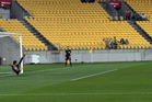 Phoenix's Kosta Barbarouses converts a penalty during the Sister City Cup, Wellington Phoenix vs Beijing BG. Photo/Photosport