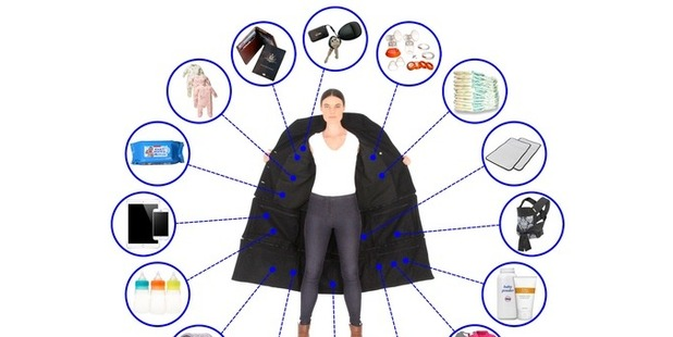 The 'Airport Jacket' has 14 deep pockets in which you can carry 15kg worth of items. Photo / Kickstarter