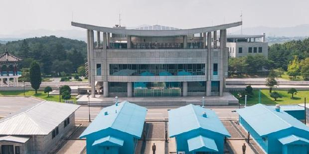 Panmunjom Peace Village, the negotiation huts on the border between North and South Korea. Photo / Reuben Teo