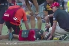 The moment that Chiefs player Mitchell Graham broke his leg in the final of the Global Super Tens against the Crusaders