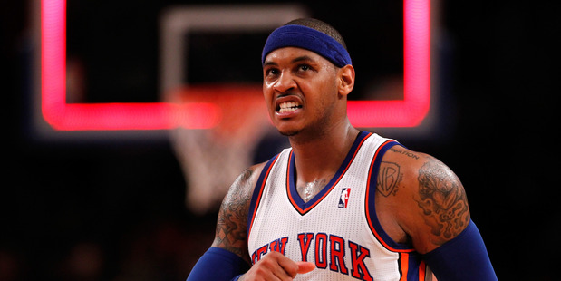 Carmelo Anthony reacts against the Miami Heat. Photo / Getty Images
