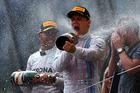 Valtteri Bottas celebrates on the podium next to Lewis Hamilton. Photo / Getty Images