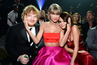 Ed Sheeran, Taylor Swift and Selena Gomez attend The 58th GRAMMY Awards, 2016. Photo / Getty
