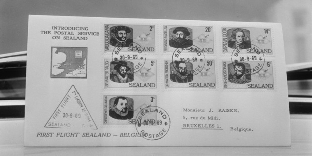 The Principality of Sealand's first postage stamps, 1969. Photo / Getty Images