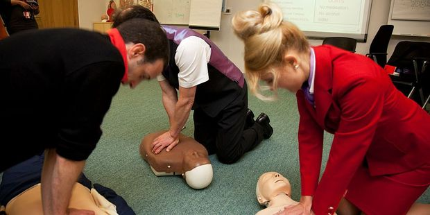Virgin Atlantic cabin crew undertake medical training. Photo / Getty Images