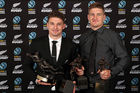 Beauden Barrett (L) and brother Jordie Barrett with their trophies at the NZ Rugby Awards. Photo / Getty