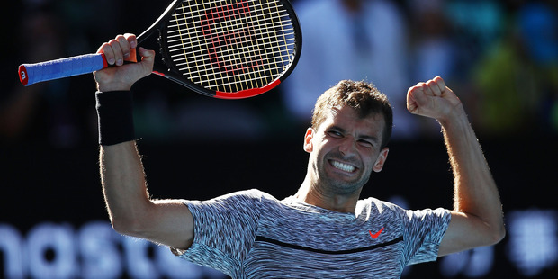 Grigor Dimitrov winning his quarterfinal match against David Goffin at the Australian Open. Photo / Getty Images
