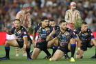 Greg Inglis of the Indigenous All Stars leads the war cry during the 2017 NRL All Stars match. Photo/Getty Images