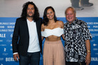 (L-R) Film director Tusi Tamasese, actors Frankie Adams and Uelese Petaia attend the 'One Thousand Ropes' press conference during the Berlin Film Festival. Photo / Getty