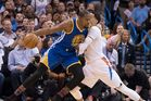 Kevin Durant of the Golden State Warriors tries to push his way around Andre Roberson of the Oklahoma City Thunder. Photo / Getty