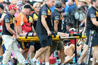 Brad Weber of the Chiefs is taken from the field with an injury during the Rugby Global Tens Final. Photo / Getty