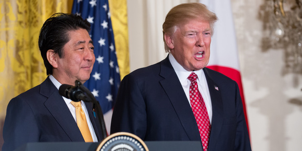 US President Donald Trump and Japanese Prime Minster Shinzo Abe held a joint press conference in the East Room of the White House. Photo / Getty