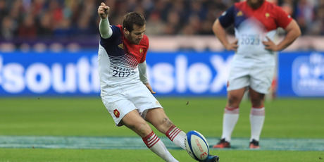Camille Lopez of France kicks a penalty during the Six Nations match against Scotland. Photo/Getty Images